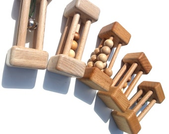 Wood, Montessori, toy baby wooden rattle rattle