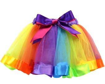 Rainbow Satin Trimmed Tutu Skirt