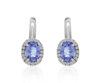 1.98 Carat Oval Cut Tanzanite & Diamond Halo French Back Earrings 14K White Gold
