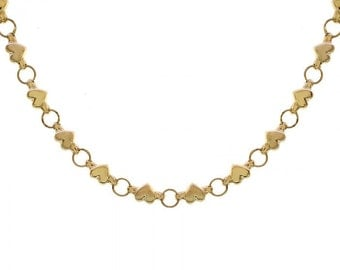 5.86mm 14K Yellow Gold Hearts Necklace Chain