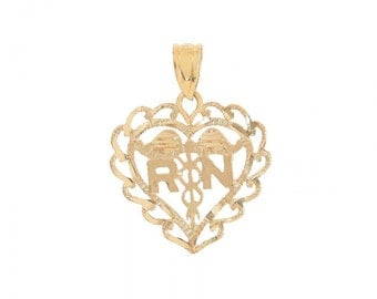 R & N Heart Pendant 14K Yellow Gold Diamond Cut