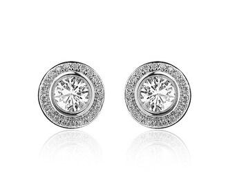 0.50 Carat Round Halo Diamond Stud Earrings 14K White Gold