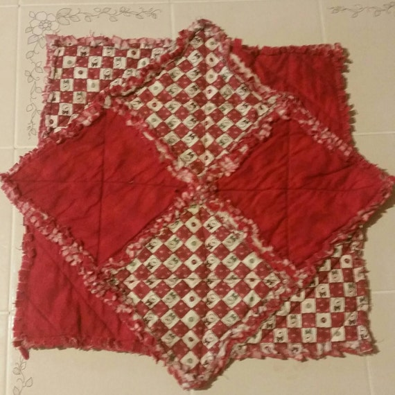Christmas Table Topper Rag Quilted