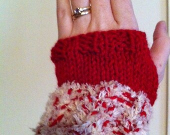 Fuzzy Peppermint Colored Fingerless Gloves