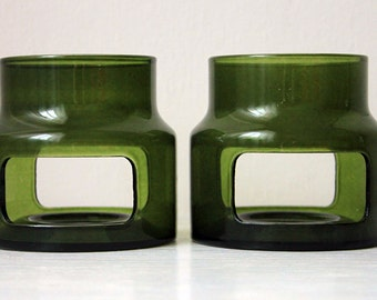 Green Glass Trivet, Tea Pot Warmer, Hot Pot Stand Set of Two