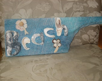 "Handmade One of a Kind ""Beach"" Reclaimed Wood Sign Arrow Sea Shells Shabby Beach Cottage Decor"