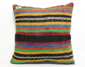 striped kilim pillow 20x20 turkish kilim pillow kilim pillow boho pillow throw pillow multicolor kilim pillow decor pillow home SP5050-582