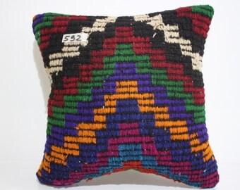 Handmade Wool Kilim Cushion Cover 16x16 Turkish Pillow,Tribal Pillow, Embroidery Kilim Pillow Throw Pillow Vintage Kilim Pillow SP4040-592