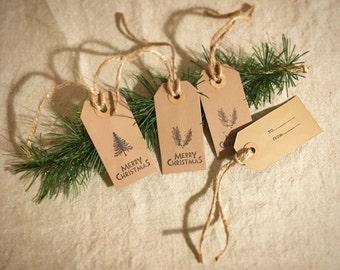 Christmas Gift Tags, Rustic Christmas Tags, Hand Stamped, Christmas Gift Wrap, Christmas Tree, Labels, Nature Inspired, Christmas Gifts