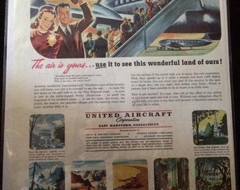 Vintage Ad.  Untied Aircraft Corp. Pratt & Whitney Engines.  1950's.