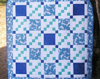 Modern Quilt, Lap Quilt,  Teal Quilt, Blue Quilt, Custom Quilting, Ready to Ship