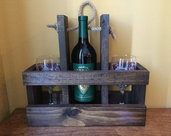 Wood Wine Carrier with glasses