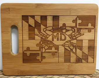 Maryland Flag with Crab Bamboo Engraved Cutting Board