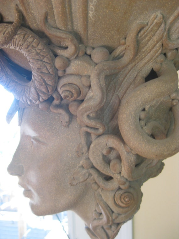 Medusa head ceramic sculpture planter head piece statue - Medusa head planter ...