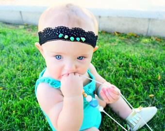 Turquoise Black Lace Headband