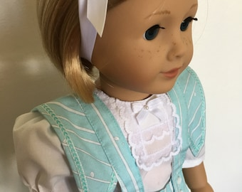 Vintage looking pleated skirt with heirloom blouse fits American girl dolls