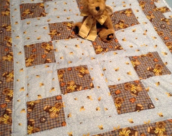 Boyd's bear handmade quilt and authentic matching Boyds bear