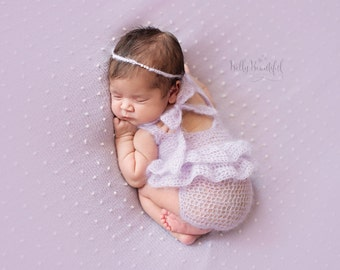 Newborn Aria Pearl Tieback with Mohair, Baby Girl Photography Prop, Shower & Coming Home Gift