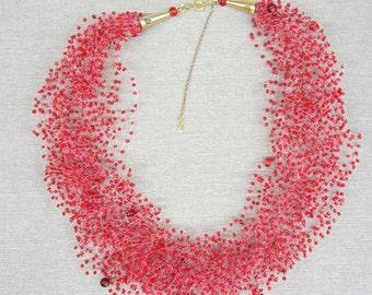 Handmade Necklace, Crochet  Necklace,  Bead Necklace