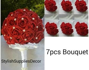 7pcs Dark Red Bouquet set Dark Red Bridesmaids Bouquet Dark Red Wedding Bouquet Set Dark Red Foam Rose Bouquet Red Brooch Bouquet
