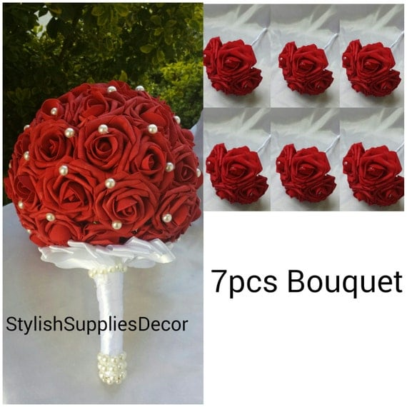 7pcs Dark Red Bouquet set Dark Red Bridesmaids Bouquet Dark