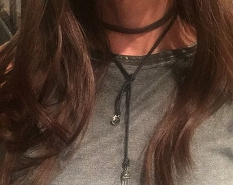 Long leather wrap around and tie necklace with pendant