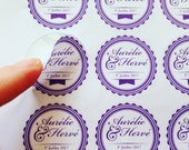 37 wedding Stickers / decals custom print purple envelopes, invitations, pocketfold (label, gift, invitation, p