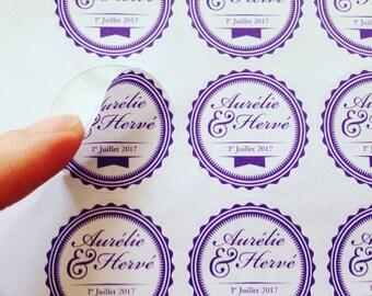 37 wedding Stickers / decals custom print purple envelopes, invitations, pocketfold (label, gift, invitation, p