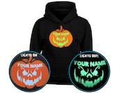 Grinning Jack Personalised Pumpkin GLOW IN DARK Kids Unisex Halloween Hoodie (6 Colours)