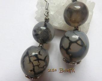 Agate Veinee hook Silver 925 earrings
