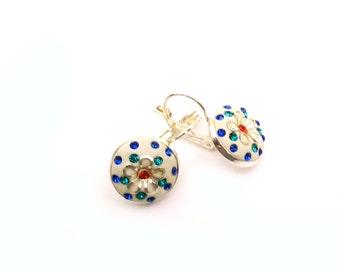 Crystal, flower earrings