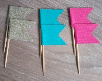 Flag Cupcake toppers, 24 Flag cupcake toppers, Pink, aqua and gold glitter, Food Picks, Flag food pick,  baby shower, first birthday