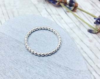 Sterling Silver Beaded Ring, Silver Beaded Stacking Ring, Silver Stackable Ring, Beaded Ring, Silver Stacking Ring