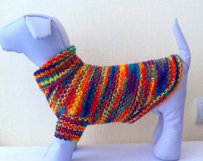 Rainbow Colour Cute Dress For Dog. Handmade Knit Clothes For Pets. Dog Dress.Sweater For Pet. Pet Clothing. Size M