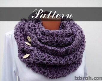 Crochet pattern Crochet infinity scarf Winter scarf Women's scarf DIY Long scarf Circle scarf Crocheted scarf pattern Button scarf Cowl