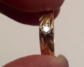 14K Yellow Gold With Diamond Engagement Ring, Size 6.5