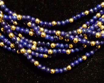 Beaded 14K Yellow Gold and Lapis Lazuli Necklace