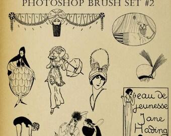 Set of NINE Photoshop Brushes Digi Stamps Art Deco Flapper Roaring Twenties Clip Art Download