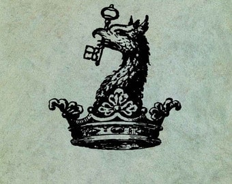 Griffin Chimera Wyvern Dragon in Crown - Antique Style Clear Stamp