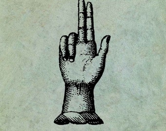 Hand with Two Fingers Pointing Upwards - Antique Style Clear Stamp