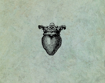 Crowned Heart (Small)  - Antique Style Clear Stamp