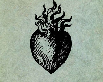 Sacred Flaming Heart - Antique Style Clear Stamp