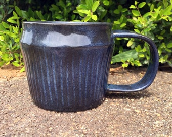 Midnight Carved Stripe Mug