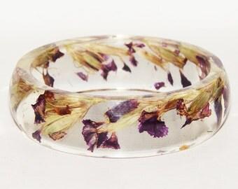 Violet Flower Bangle, Flower Jewelry, Resin Bracelet, Real Flower Bangle, Flower Bracelet, Nature Jewelry, Purple Bangle, Botanical Bangle