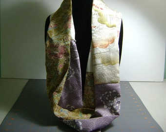 Long Skinny Kimono Silk Infinity Scarf with creams,tans,golds, landscape and floral motifs