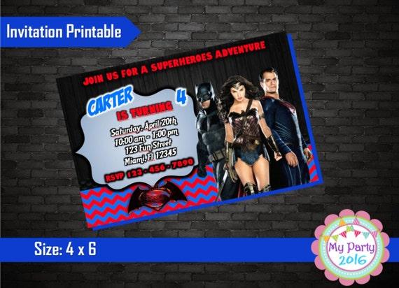 Batman Vs Superman Birthday Party Invitation - Printable