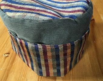Striped pillbox hat