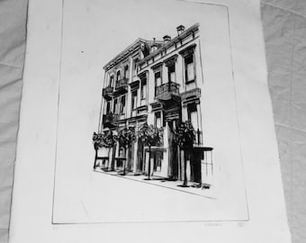 French Building Drypoint Print