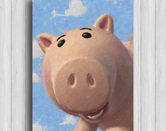 toy story print hamm disney watercolor toy story art disney artwork