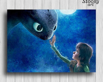 How to train your dragon print night fury poster toothless dragon painting dreamworks